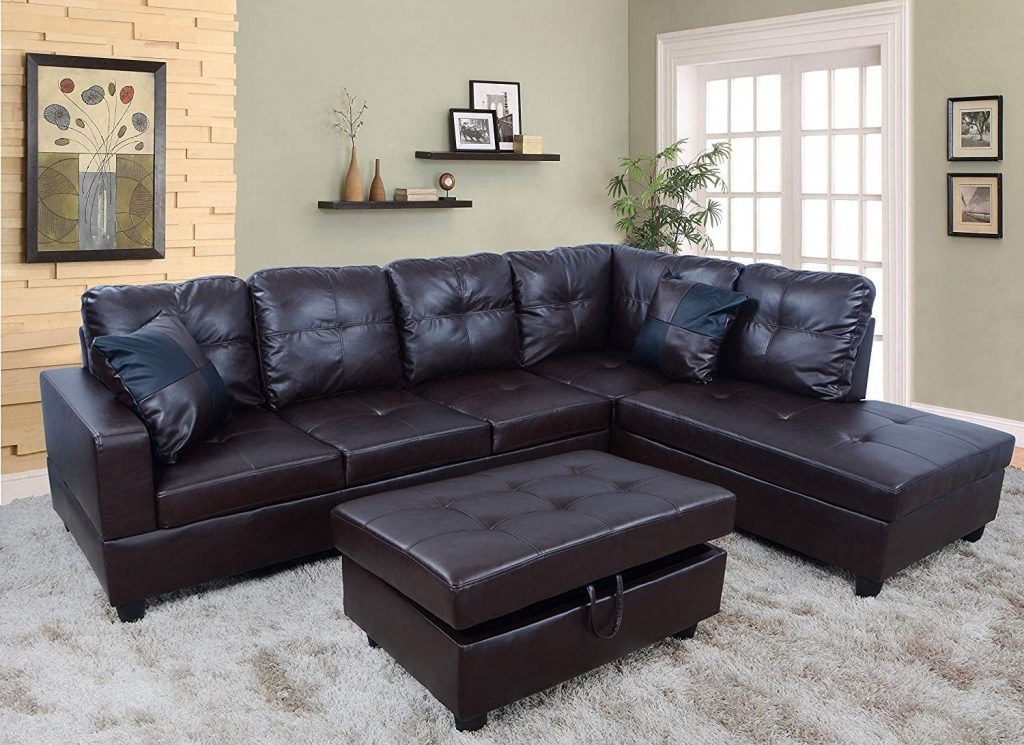 3 Piece Urbania Right Hand Facing Sectional Sofa Sets for  Living Room Under $600
