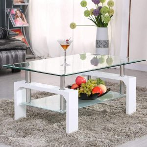 Coffe table with lower shelf wooden legs for living room