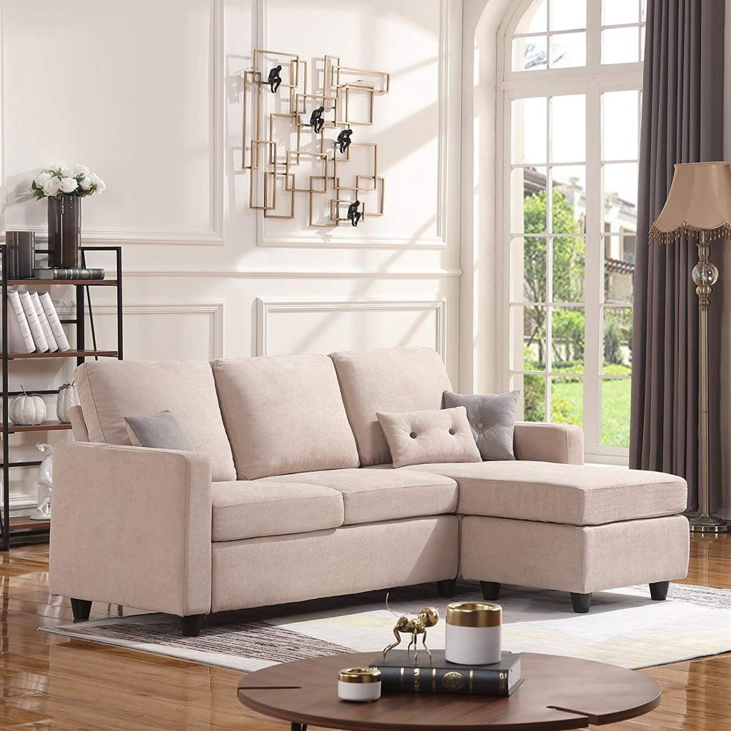 honbay covertible sectional small space dark beige,cheap living room sets under 1000