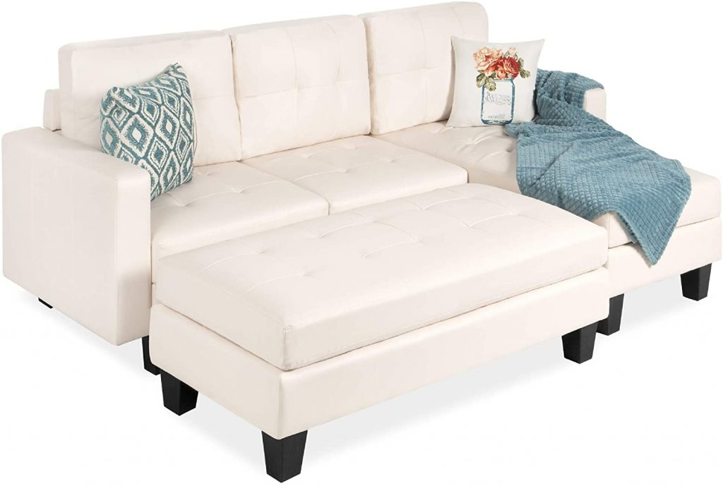 Best choice products 3 seat l shape tufted faux leather