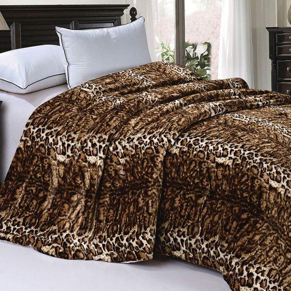 home soft things faux fur tiger stripe blanket