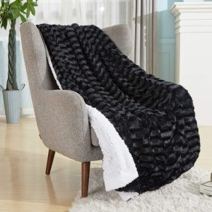 soft faux fur embossed soft throw snuggling chair couch blanket