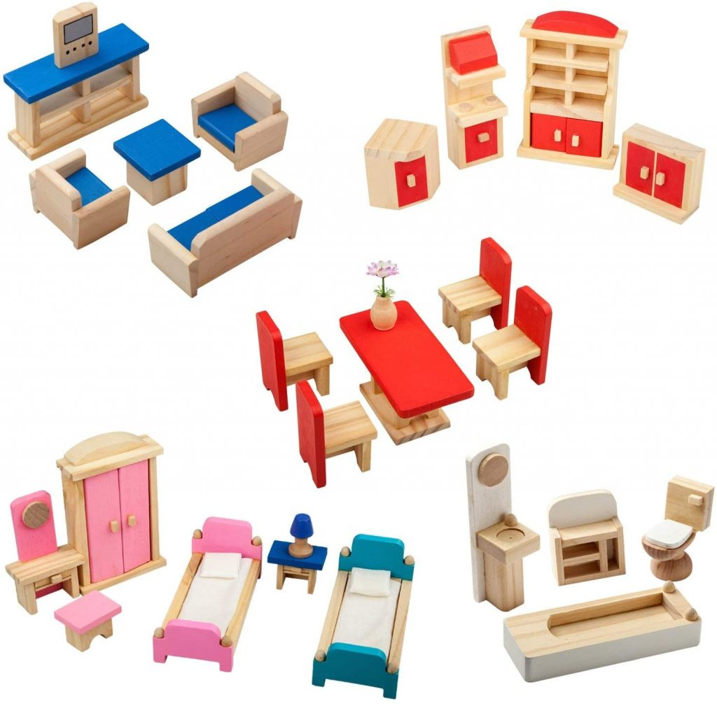 5 piece Set Colorful Wooden Doll House Furniture, Wood Miniature Bathroom Living Room  Furniture Dollhouse