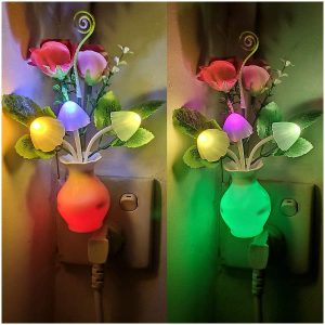 Energy Saving Lamp Dream Nightlight Rose Flower Mushroom Night Lights for Kids Adults