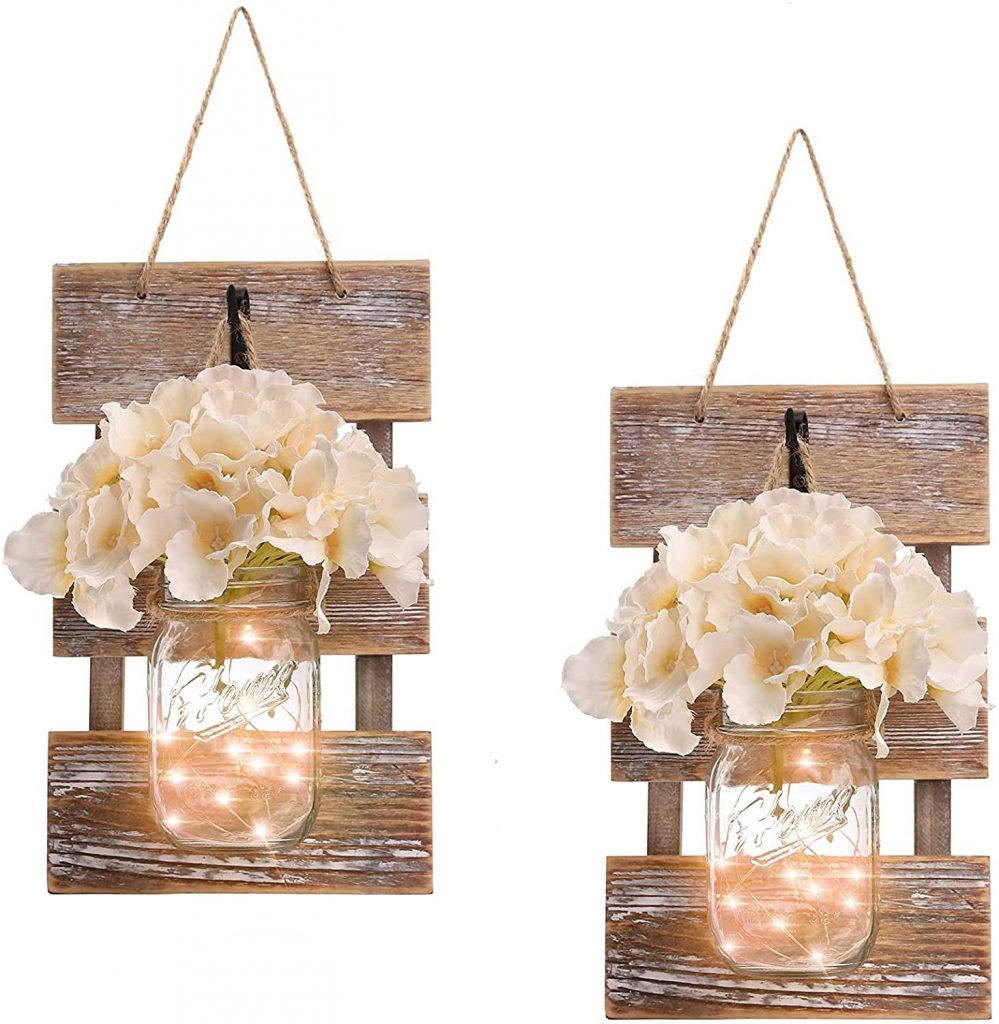 Rustic Brown Mason Jar Sconces for Wall Decor with led lights
